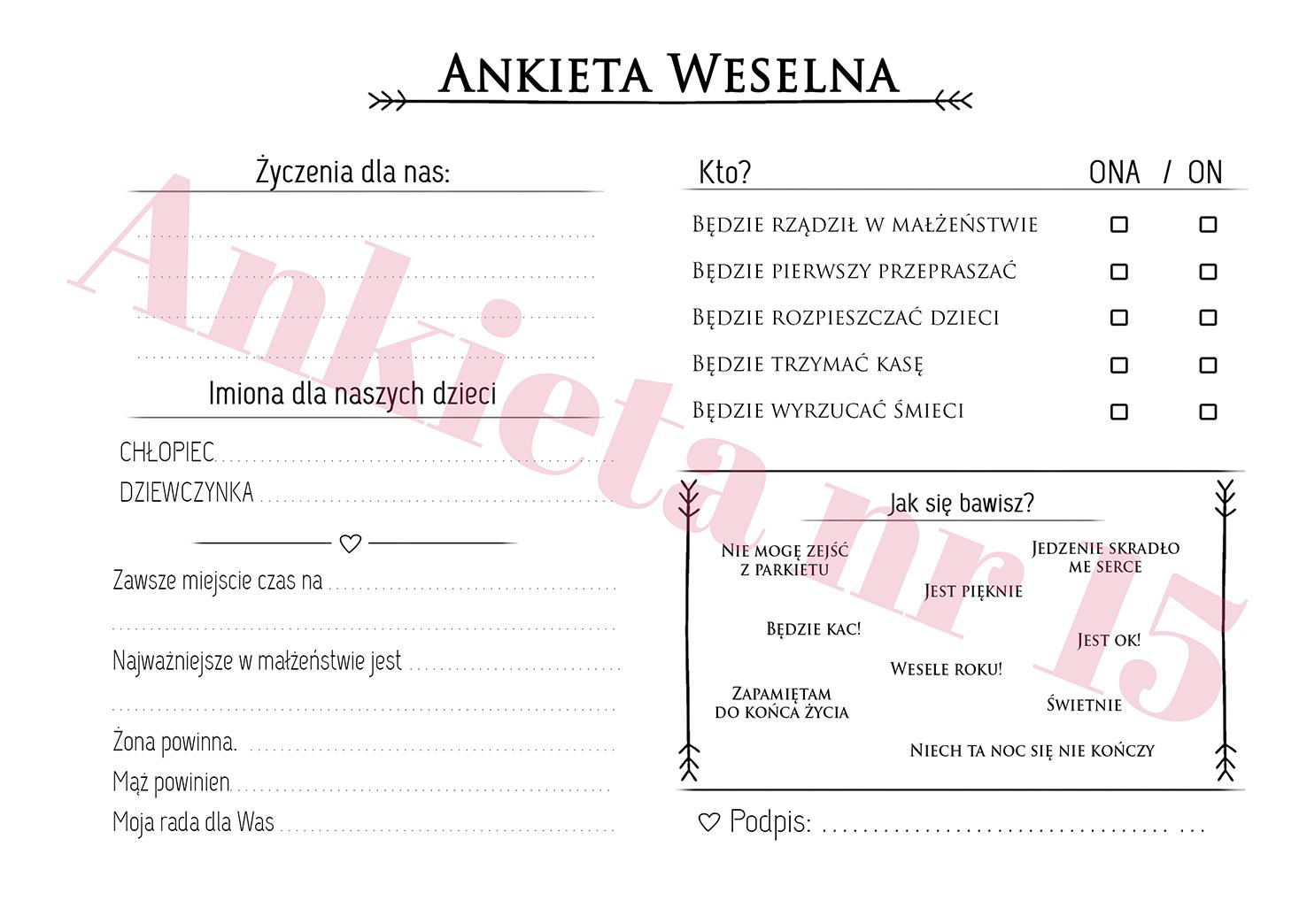 Ankieta weselna na ślub i wesele