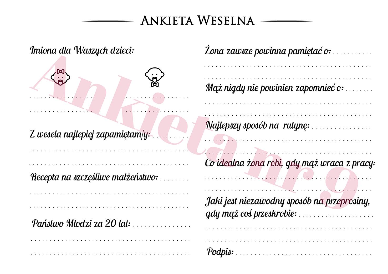 Ankieta weselna dla gości