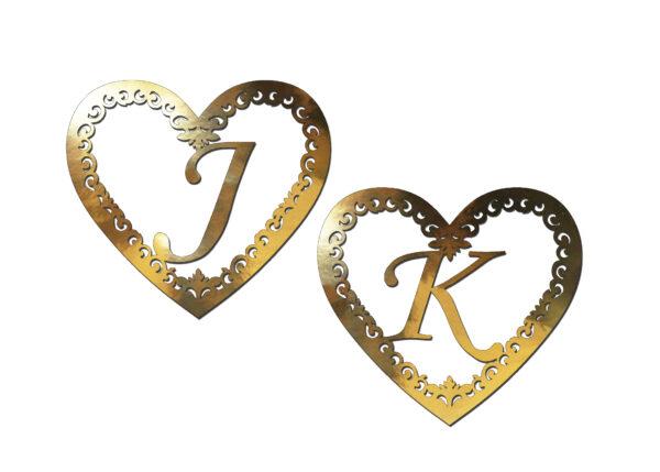 Inicjały na ściankę weselną serca