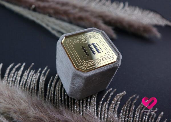 Pudełko welurowe na obrączki wielki Gatsby Art Deco