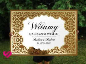 Tablica powitalna wesele glamour złota