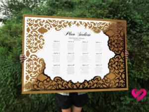 plan stołów weselnych glamour złoty