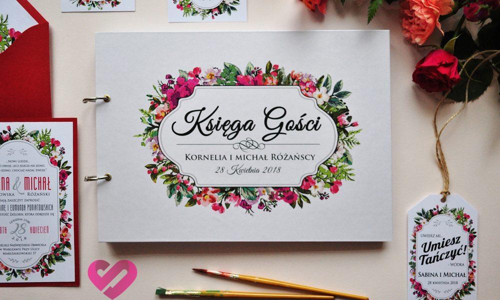 Pastelowa, rustykalna księga ślubna z motywem kwiatów, w stylu boho