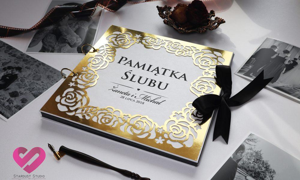 Elegancki, złoty album ślubny na prezent, na zdjęcia ślubne, w stylu glamour