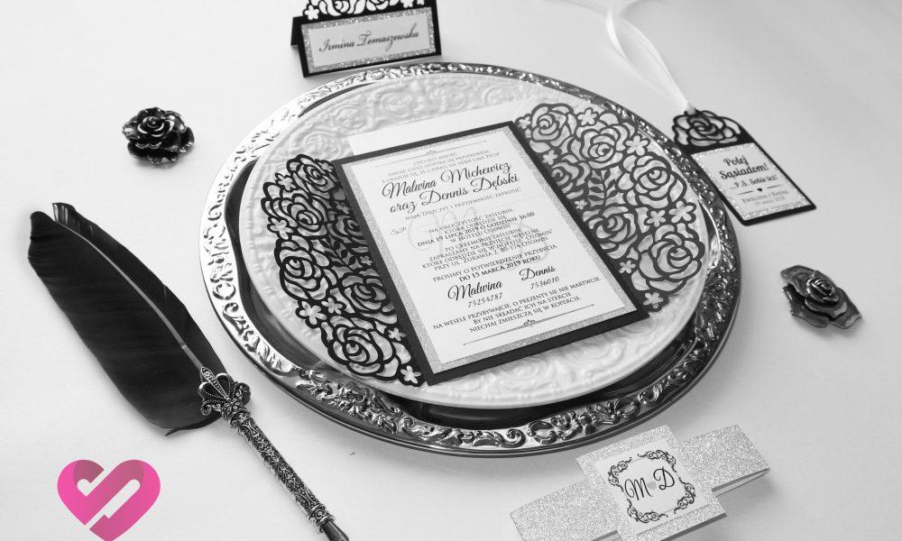 Czarna winietka, zawieszka weselna, zaproszenia ślubne wycinana laserowo z motywem kwiatów róży w stylu glamour