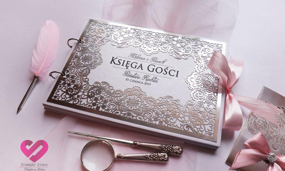 Ażurowa księga gości srebrna w stylu glamour