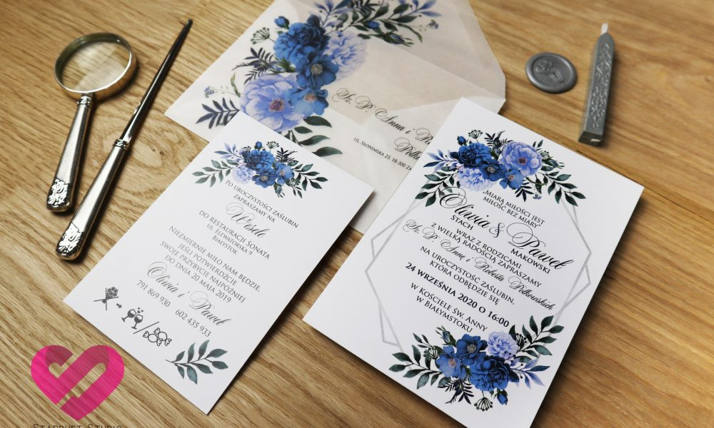 Nowoczesne, kwiatowe zaproszenia ślubne z pergaminową kopertą w stylu boho, glamour