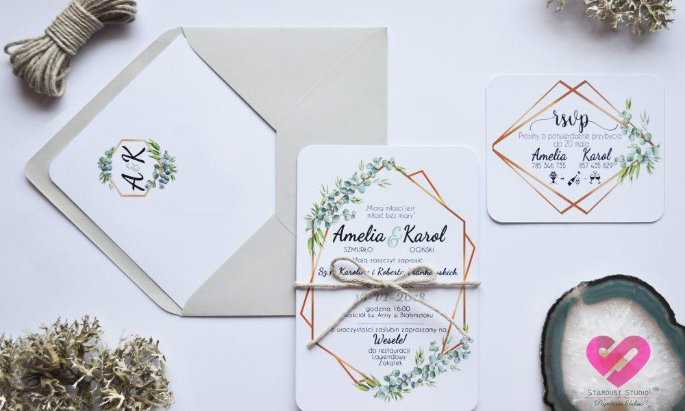 Rustykalne zaproszenia ślubne z eukaliptusem i geometryczną ramką w stylu boho