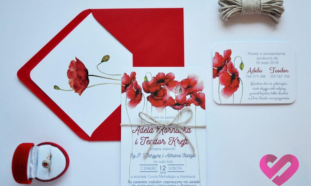 Rustykalne zaproszenia ślubne z motywem kwiatów maku w stylu boho