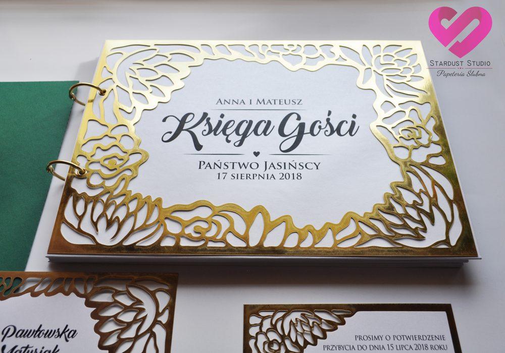 Oryginalna, elegancka księga gości glamour ze złotym ażurem