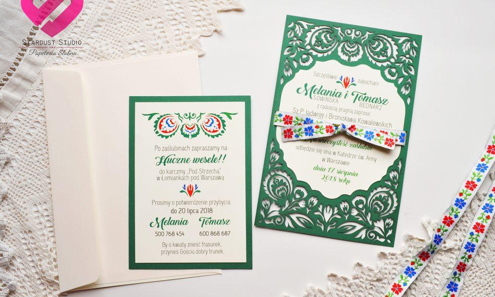 zaproszenia ślubne folkowe, etniczne, góralskie w stylu boho