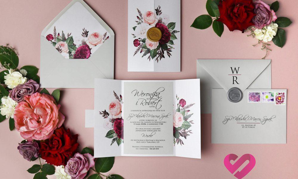 Kwiatowe zaproszenia ślubne, kolorowe otwierane zaproszenia ślubne w stylu boho, glamour