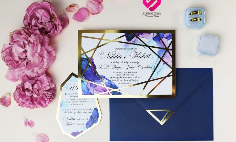 Zaproszenia ślubne geometryczne złote