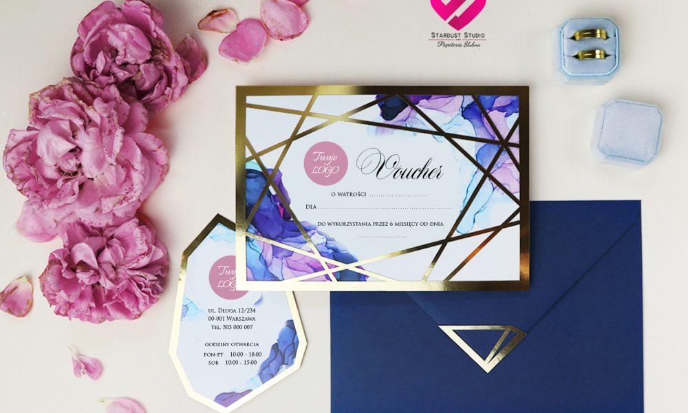 Voucher firmowy prezent glamour oryginalny geometryczny wzór